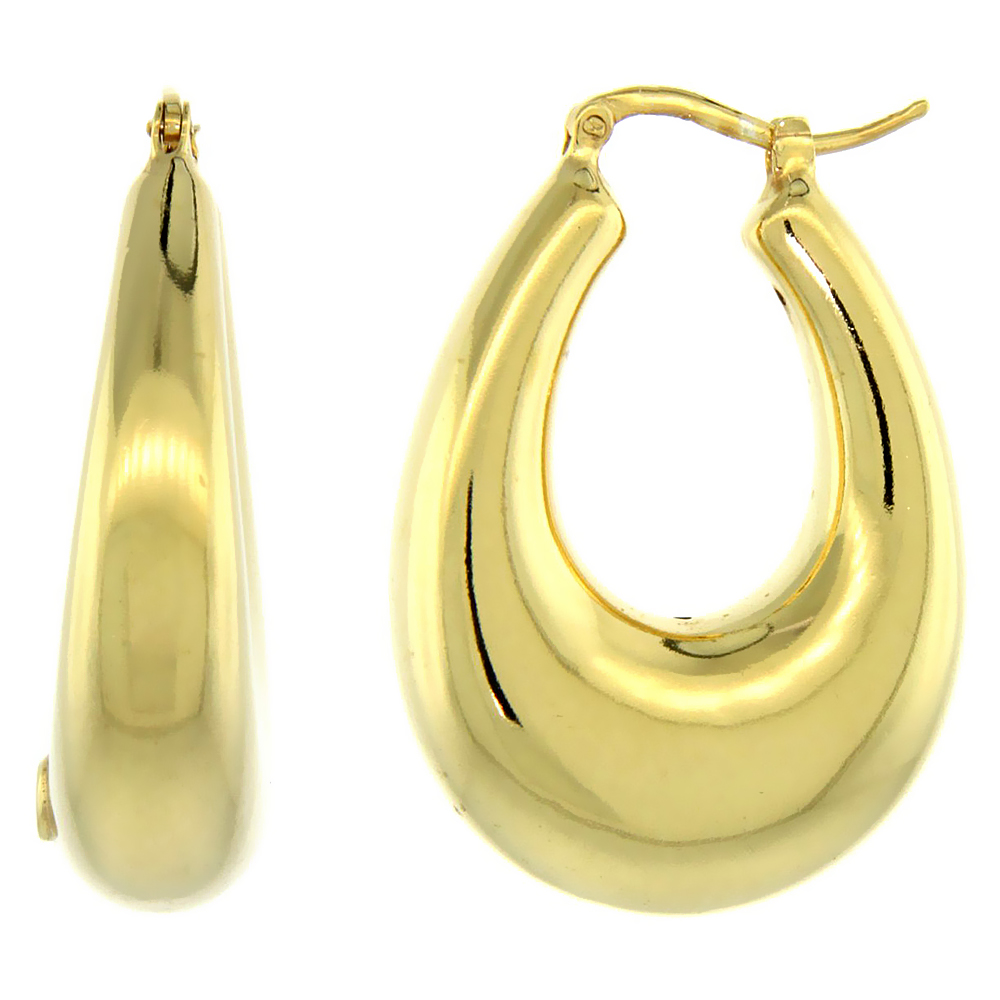 Sterling Silver Italian Puffy Hoop Earrings U-shaped with Yellow Gold Finish, 1 5/16 inch wide