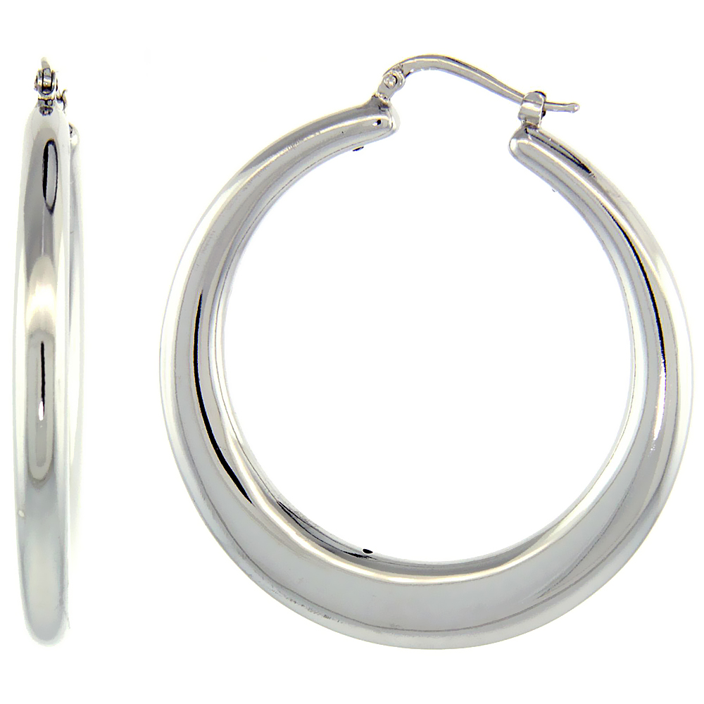 Sterling Silver Italian Large Puffy Hoop Earrings Round Shape w/ White Gold Finish, 1 3/4 inch wide