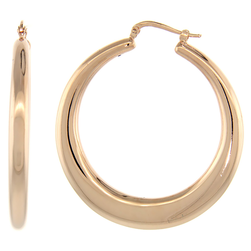 Sterling Silver Italian Large Puffy Hoop Earrings Round Shape w/ Rose Gold Finish, 1 3/4 inch wide
