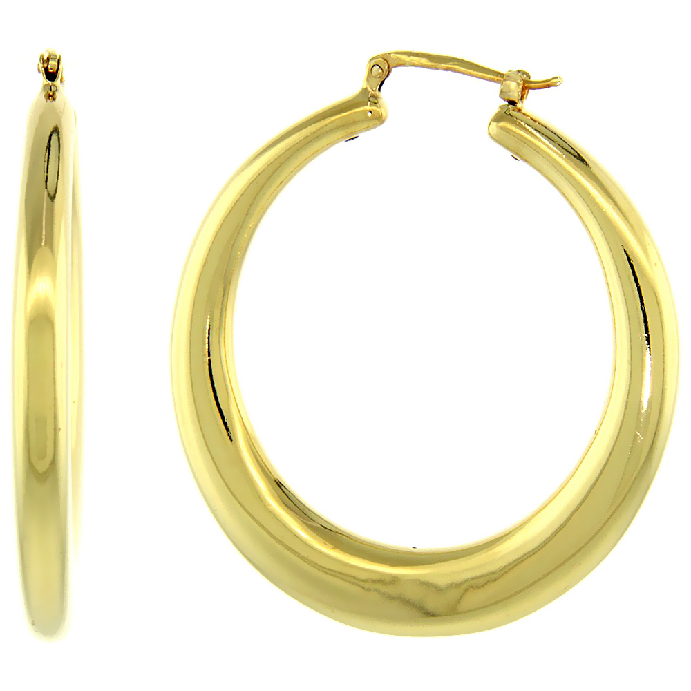 Sterling Silver Italian Large Puffy Hoop Earrings Round Shape w/ Yellow Gold Finish, 1 3/4 inch wide