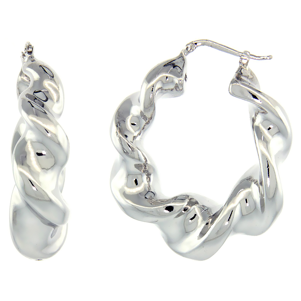 Sterling Silver Italian Puffy Hoop Earrings Twisted Design w/ White Gold Finish, 1 9/16 inch wide