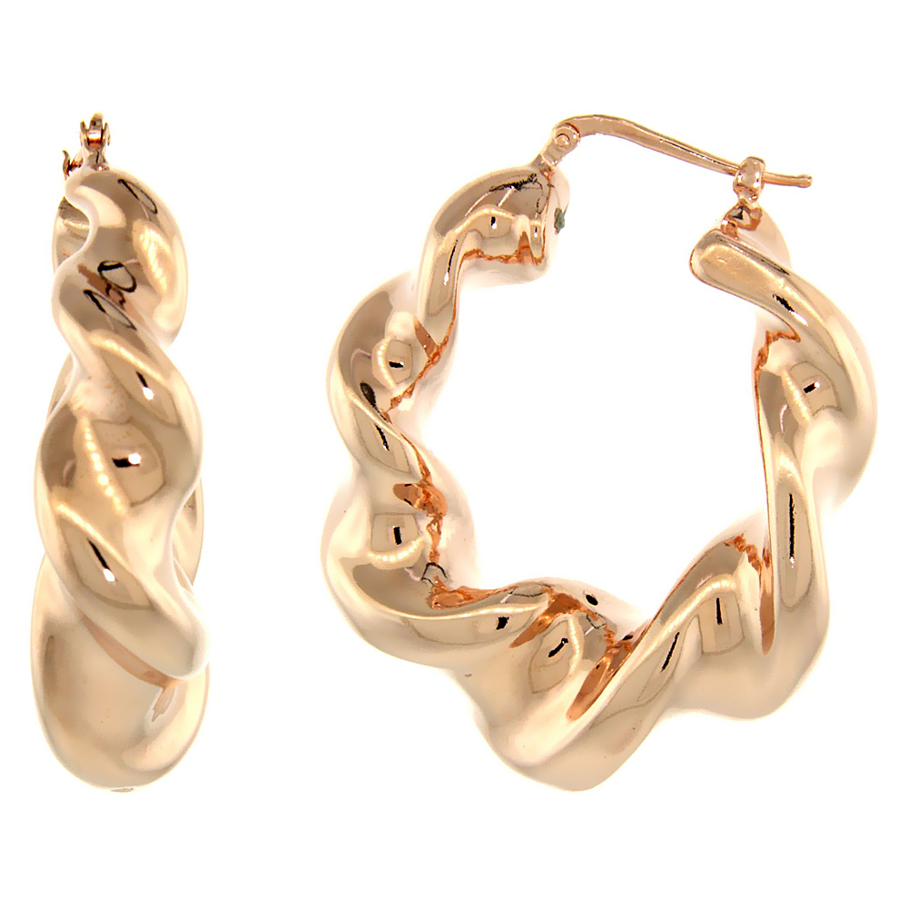 Sterling Silver Italian Puffy Hoop Earrings Twisted Design w/ Rose Gold Finish, 1 9/16 inch wide