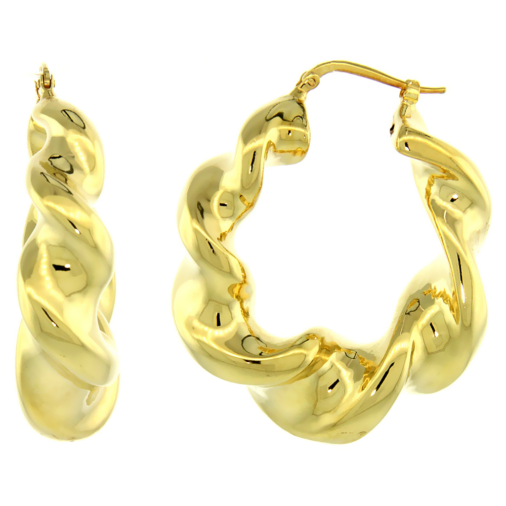 Sterling Silver Italian Puffy Hoop Earrings Twisted Design w/ Yellow Gold Finish, 1 9/16 inch wide