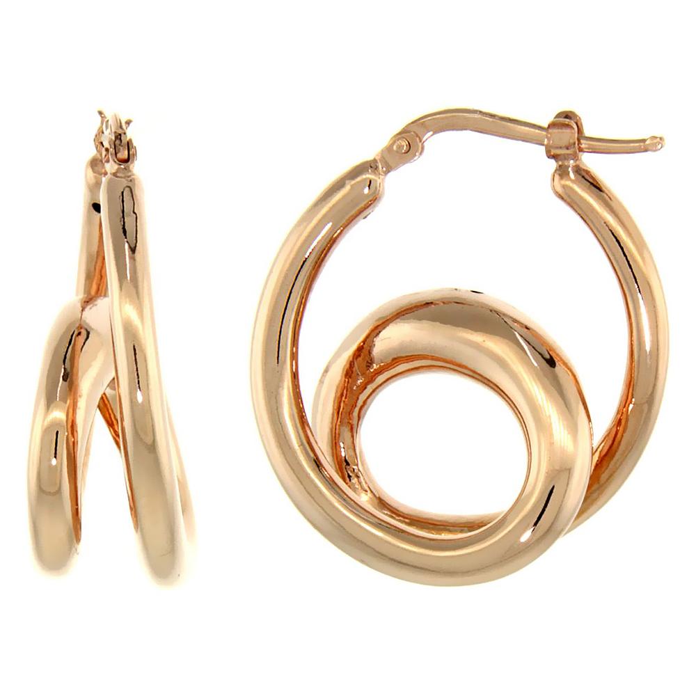 Sterling Silver Italian Puffy Hoop Earrings Double Loop Design w/ Rose Gold Finish, 1 1/16 inch wide