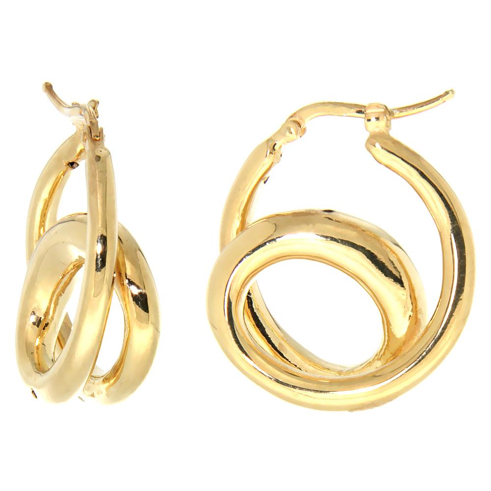 Sterling Silver Italian Puffy Hoop Earrings Double Loop Design w/ yellow Gold Finish, 1 1/16 inch wide