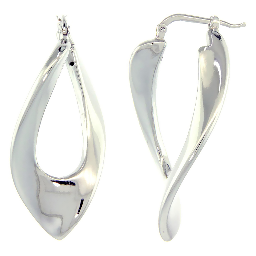 Sterling Silver Italian Puffy Hoop Earrings Twisted V Shape Design w/ White Gold Finish, 1 7/16 inch wide