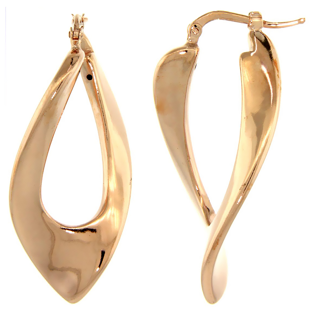 Sterling Silver Italian Puffy Hoop Earrings Twisted V Shape Design w/ Rose Gold Finish, 1 7/16 inch wide