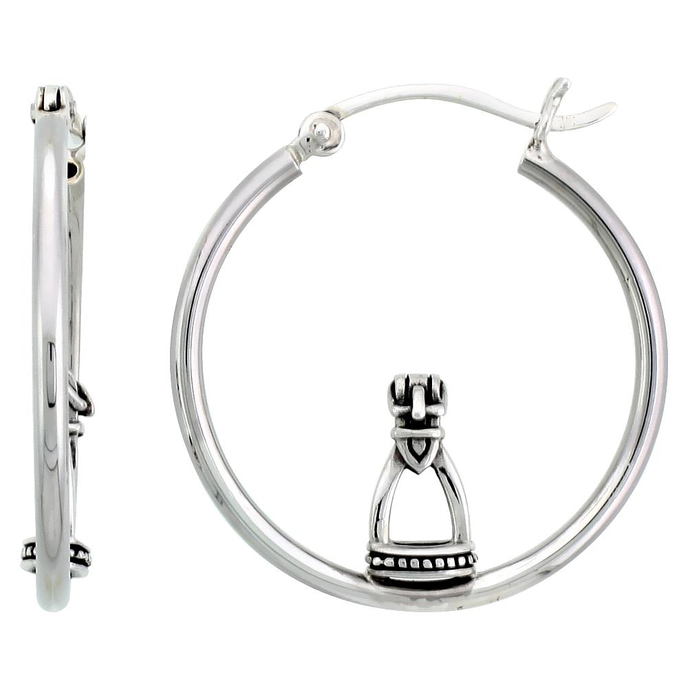 Sterling Silver Stirrup Earrings Hoops, 1 1/8 inch long
