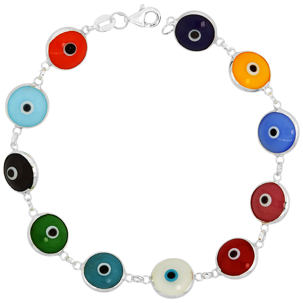 Sterling Silver Evil Eye Bracelet Multi Color, 7 inch