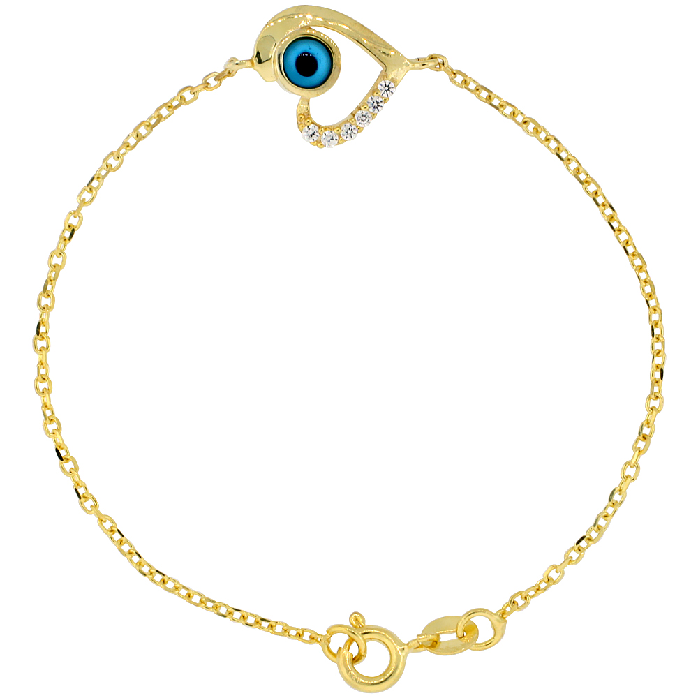 Sterling Silver Cubic Zirconia Heart Evil Eye Charm Bracelet Gold Plated 6.75 inch