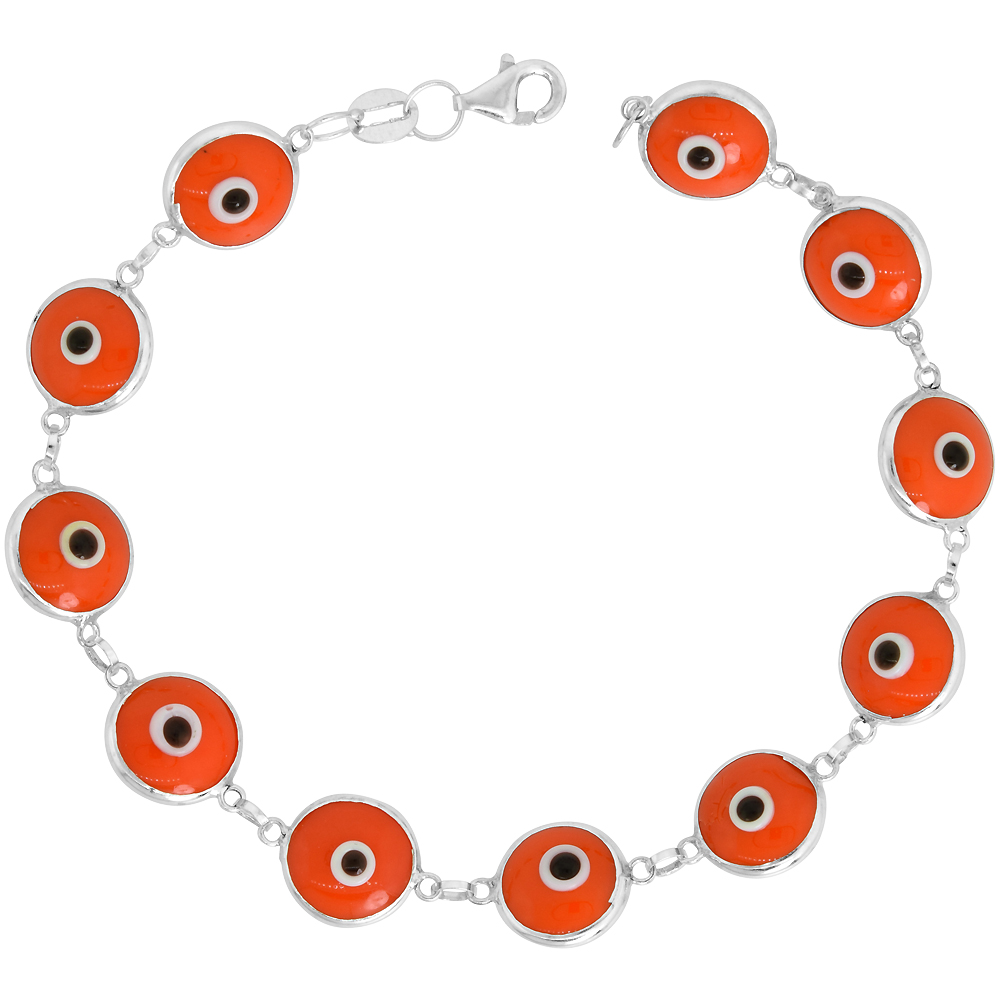 Sterling Silver Evil Eye Bracelet Orange, 7 inch