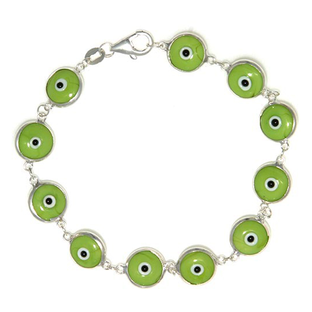 Sterling Silver Evil Eye Bracelet Apple Green, 7 inch