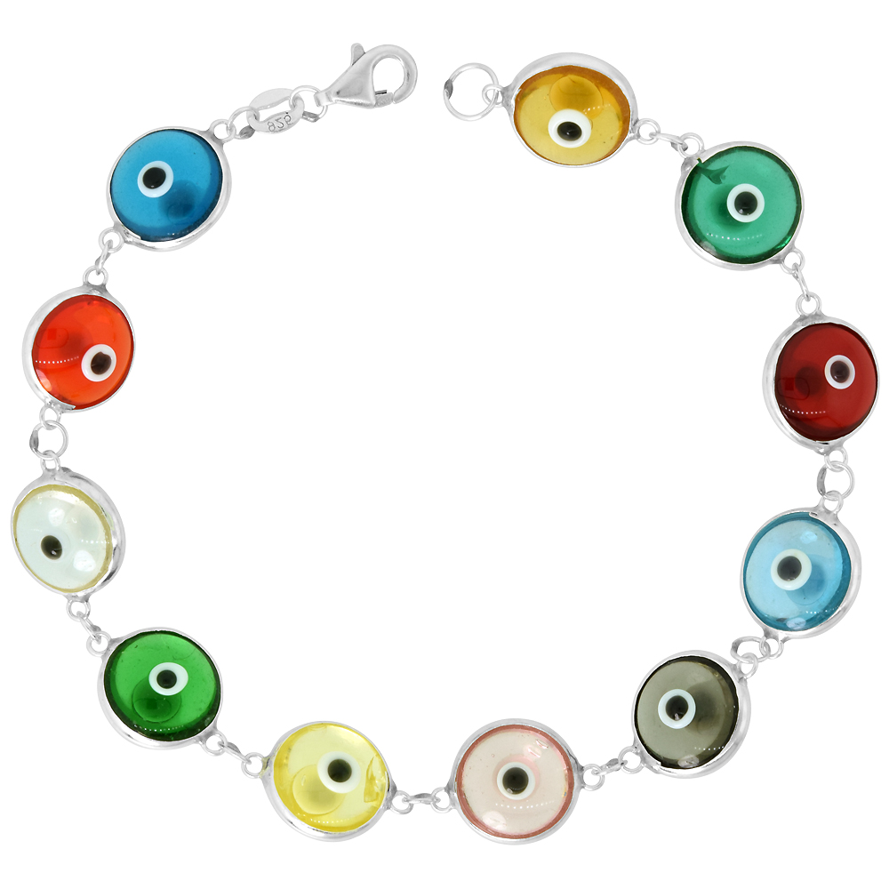 Sterling Silver Evil Eye Bracelet Clear Multi Color, 7 inch