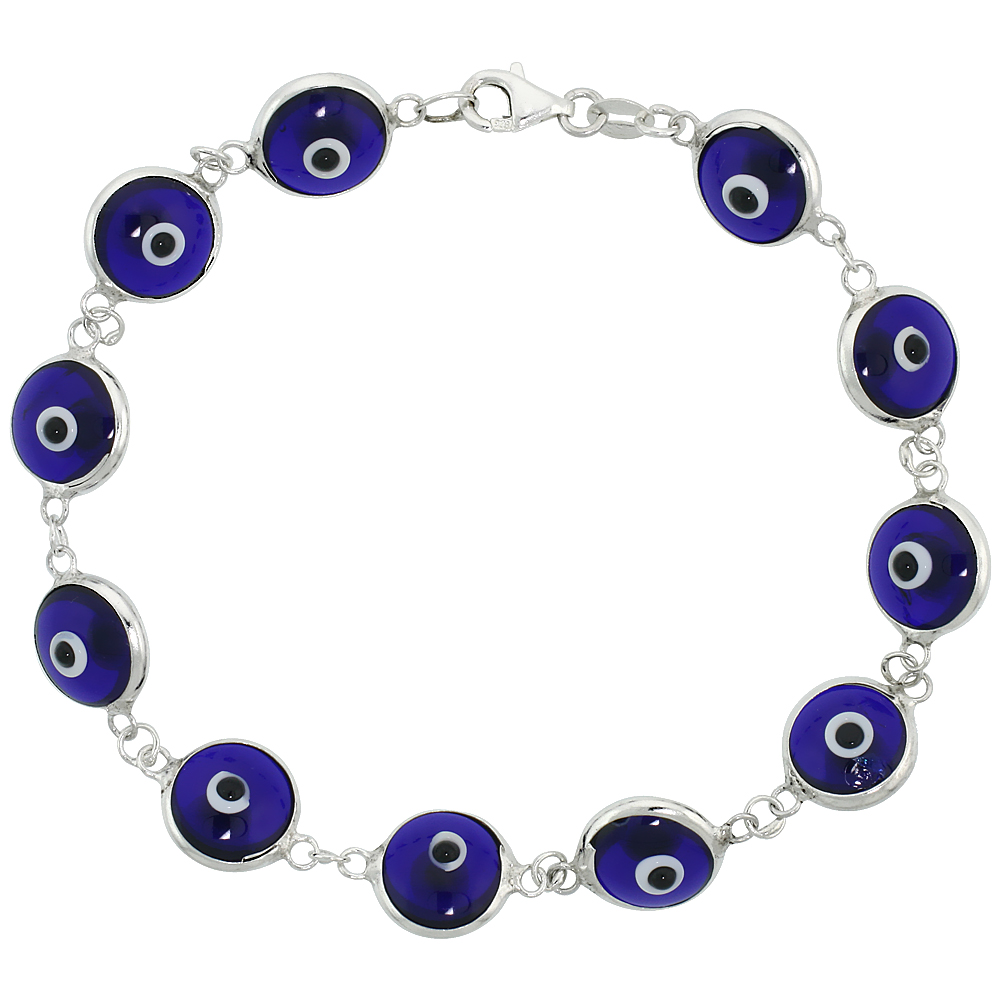 Sterling Silver Evil Eye Bracelet Clear Navy Blue, 7 inch