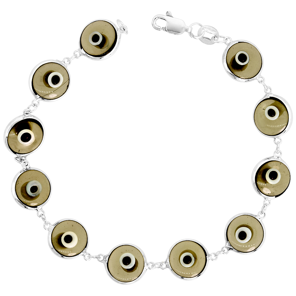 Sterling Silver Evil Eye Bracelet Clear Light Green, 7 inch