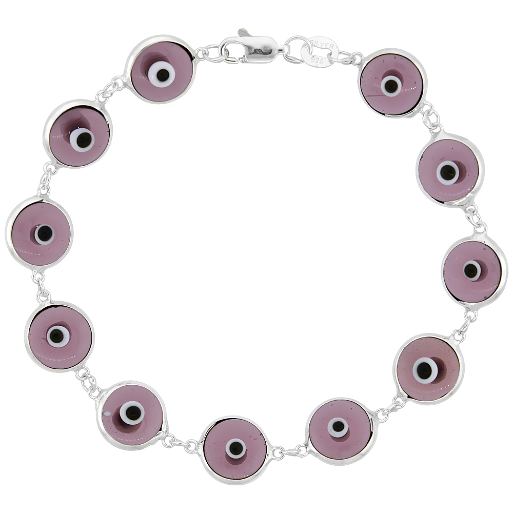 Sterling Silver Evil Eye Bracelet Clear Purple, 7 inch