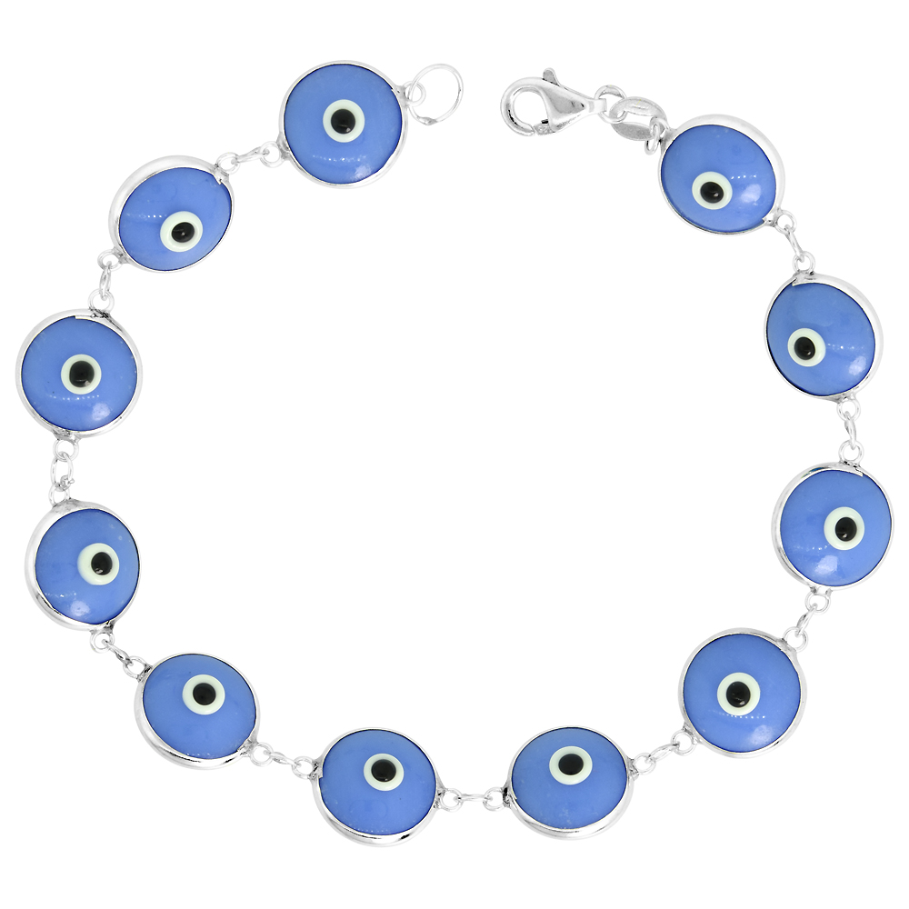 Sterling Silver Evil Eye Bracelet Light Blue, 7 inch