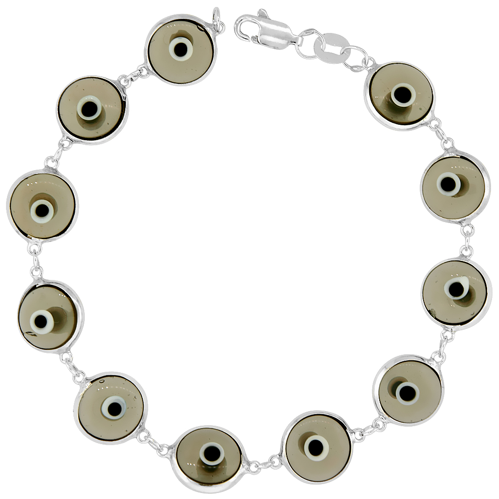 Sterling Silver Evil Eye Bracelet Clear Light Gray, 3/8 inch (10 mm) wide