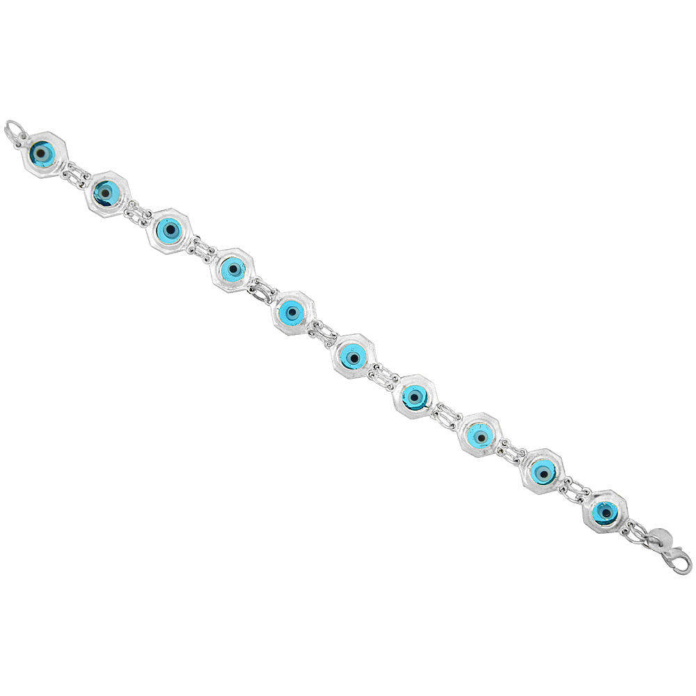 Sterling Silver Evil Eye Bracelet Clear Blue, 3/8 inch (10 mm) wide