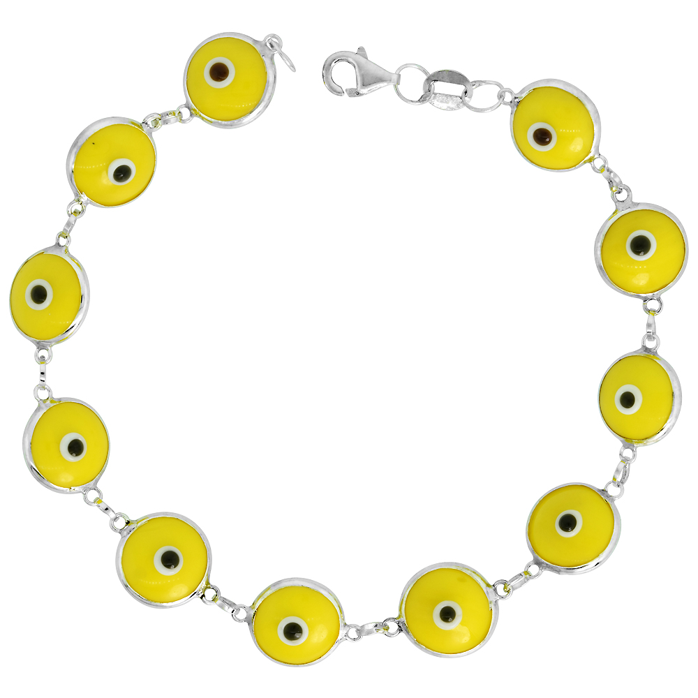 Sterling Silver Evil Eye Bracelet Yellow, 7 inch