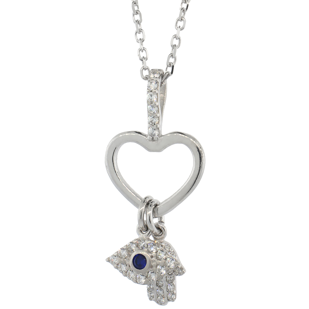 Sterling Silver Cubic Zirconia Evil Eye Heart & Hamsa Necklace 16 inch