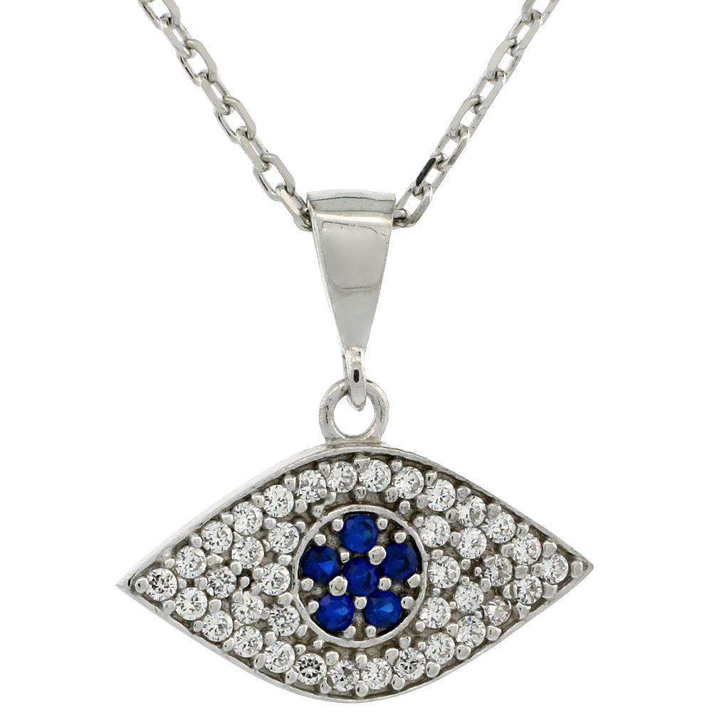 Sterling Silver Cubic Zirconia Evil Eye Necklace 17 inch Necklace 3/4 inch (20 mm)