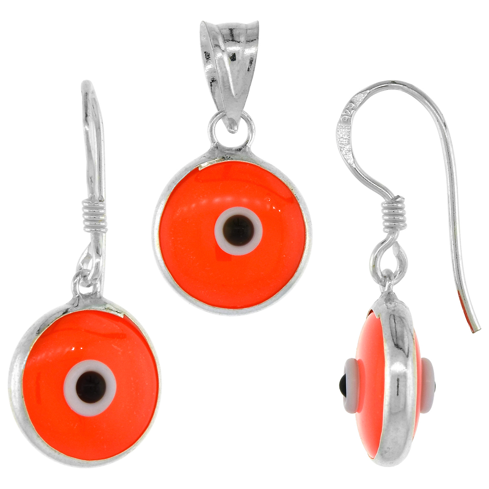Sterling Silver Evil Eye Pendant & Earrings Set Orange Color
