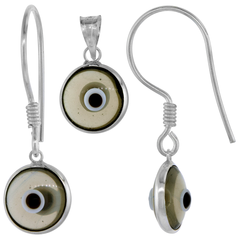 Sterling Silver Evil Eye Pendant & Earrings Set Clear Red Color