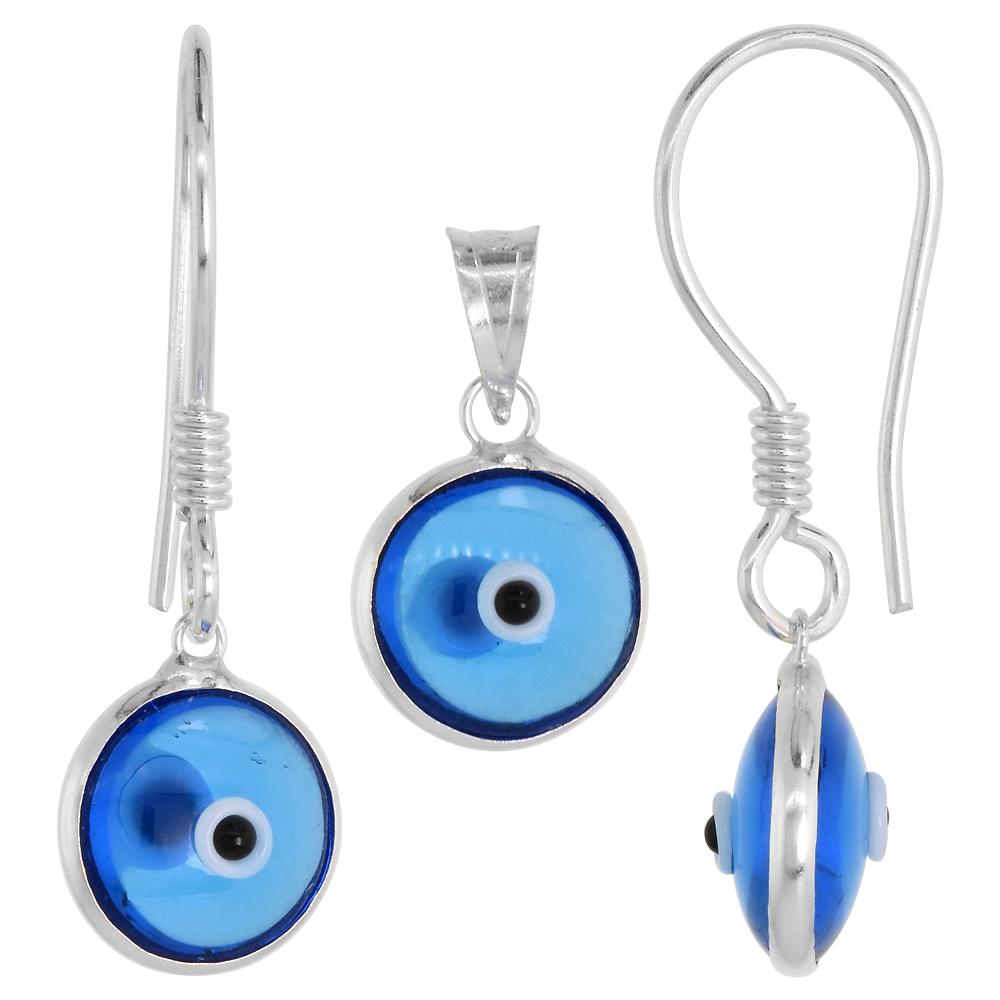 Sterling Silver Evil Eye Pendant & Earrings Set Clear Blue Color