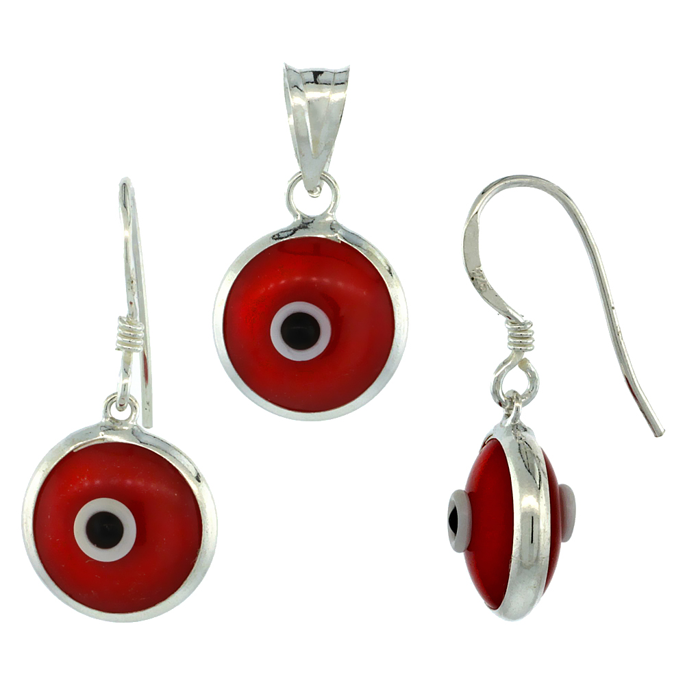 Sterling Silver Jewelry Sets/Evil Eye Earrings & Pendant