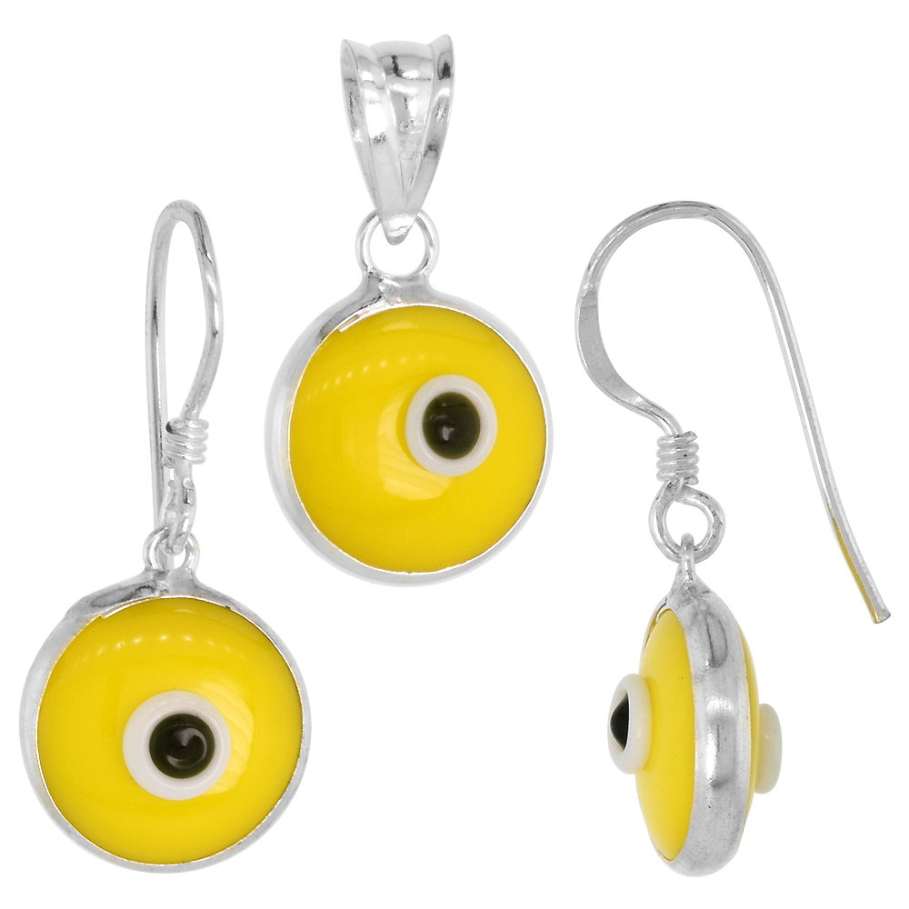Sterling Silver Evil Eye Pendant & Earrings Set Yellow Color