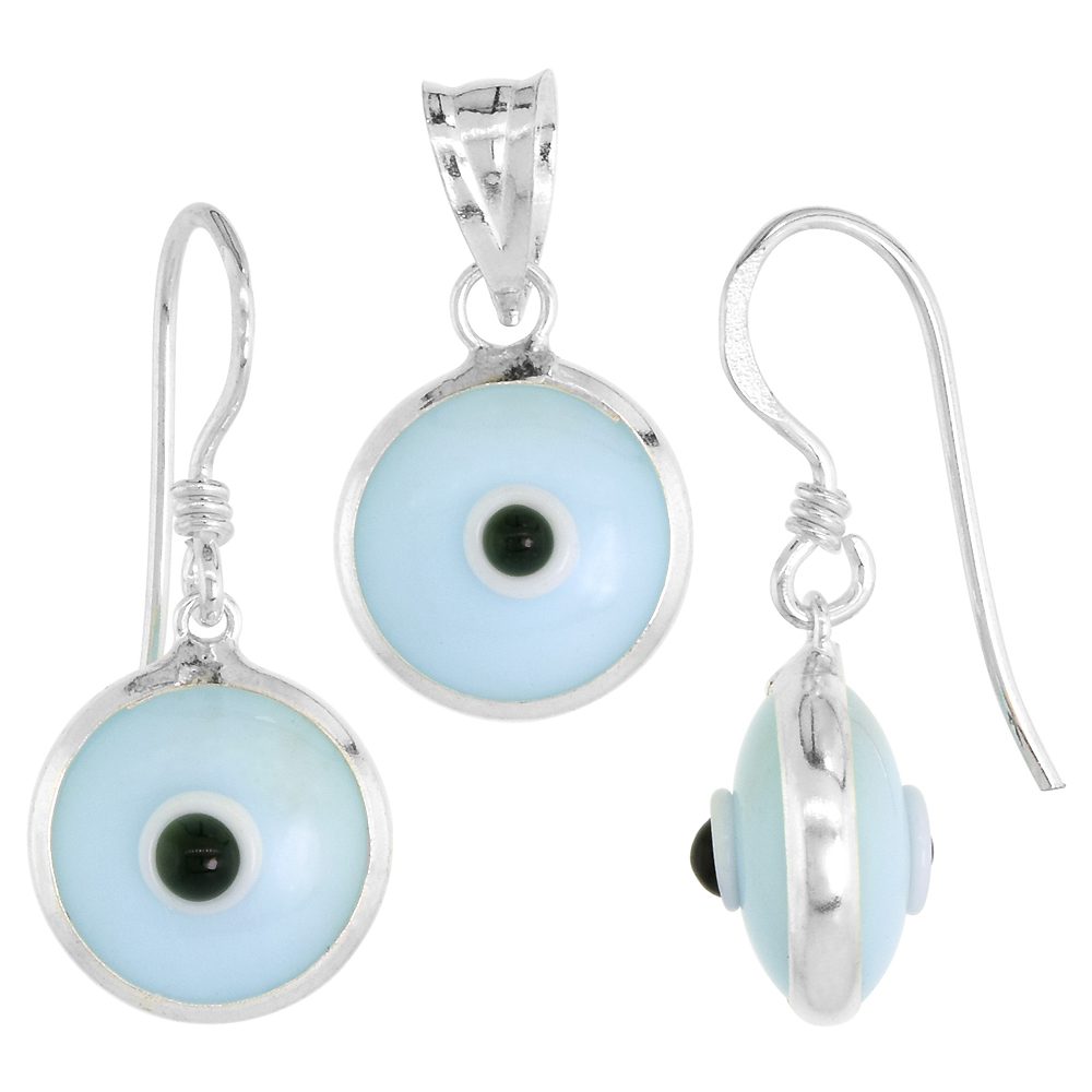 Sterling Silver Evil Eye Pendant & Earrings Set Light Blue Color