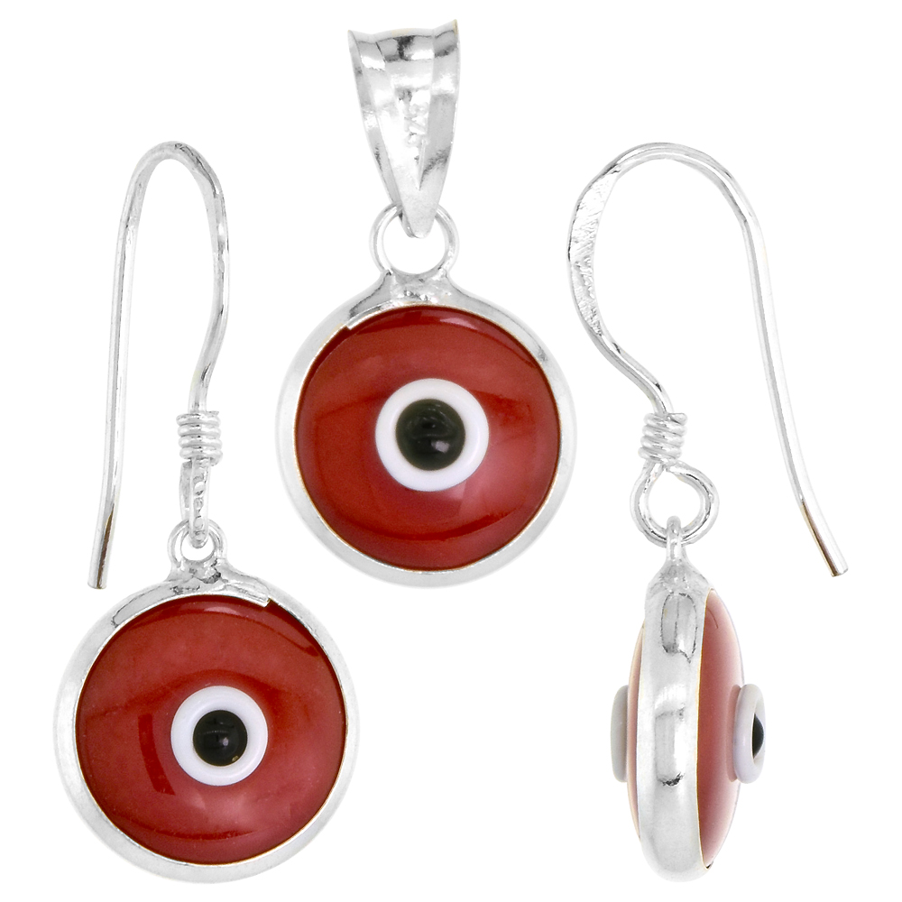 Sterling Silver Evil Eye Pendant & Earrings Set Red Color