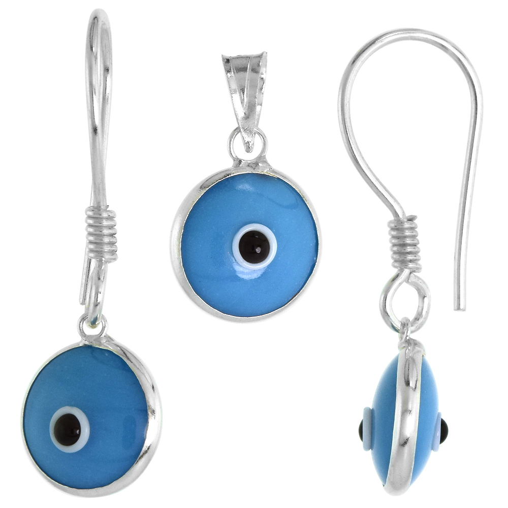 Sterling Silver Evil Eye Pendant & Earrings Set Blue Color