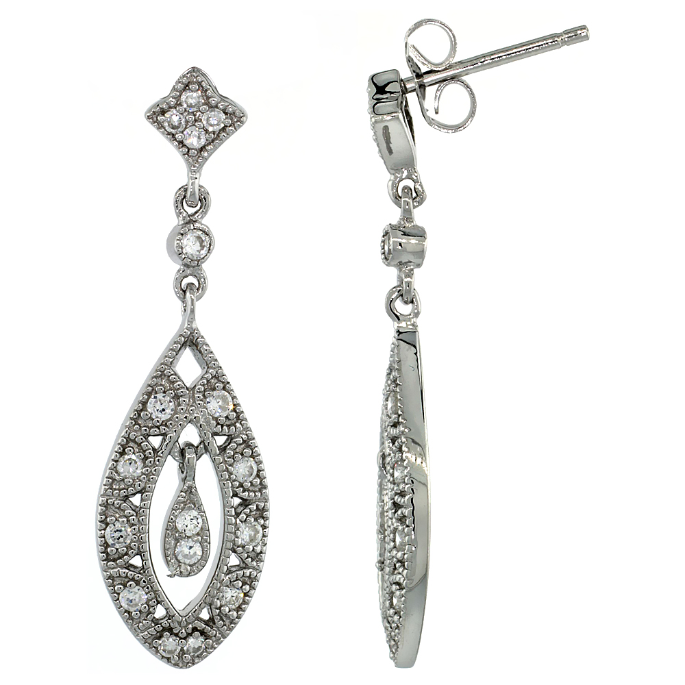 Sabrina Silver Sterling Silver Teardrop Marquise Cut Out Dangle Earrings w/ Brilliant Cut CZ Stones, 1 5/16 in. (33 mm) tall at Sears.com