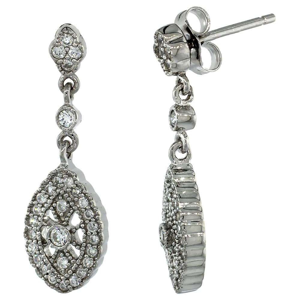 Sabrina Silver Sterling Silver Marquise Shape Dangle Earrings w/ Brilliant Cut CZ Stones, 1 1/16 in. (26 mm) tall at Sears.com