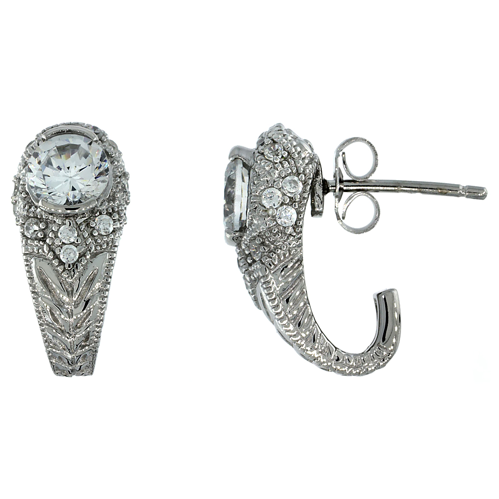 Sterling Silver Vintage Style Half-Hoop Earrings w/ Brilliant Cut CZ Stones, 11/16 in. (18 mm) tall
