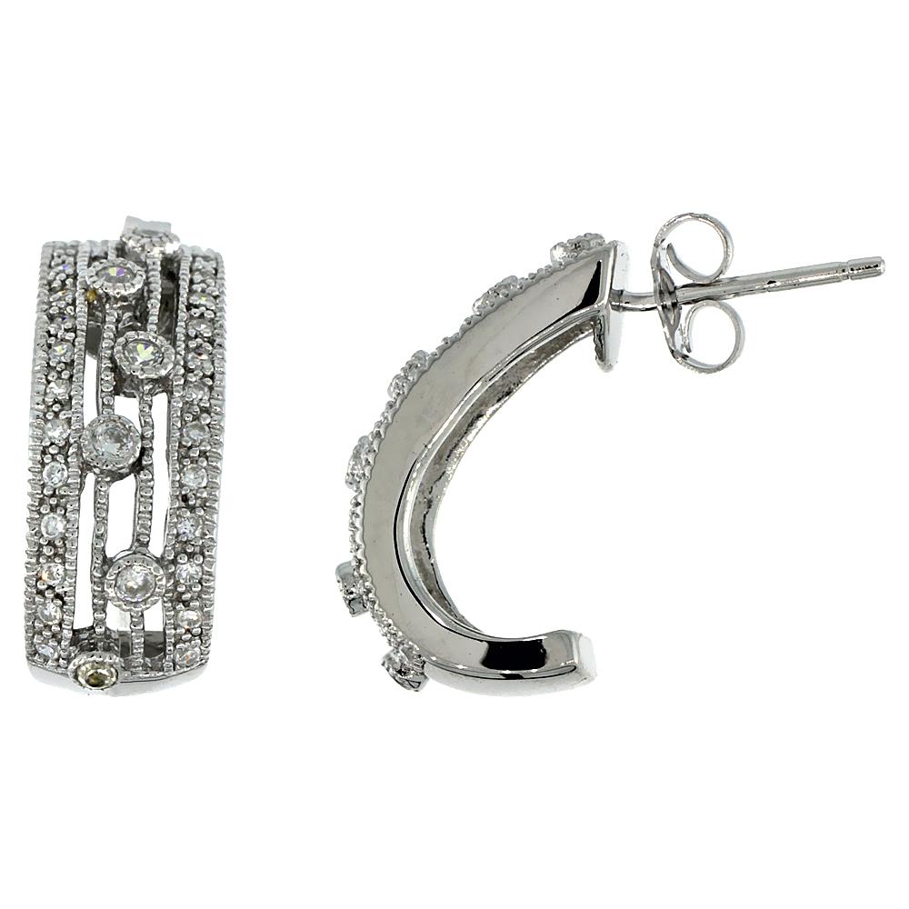 Sterling Silver Half-Hoop Earrings w/ Brilliant Cut CZ Stones, 3/4 in. (19 mm) tall