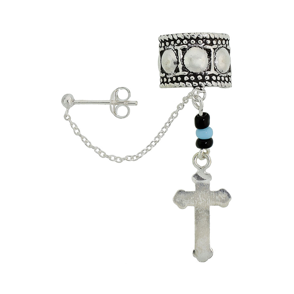 Sterling Silver Cross Ear Cuff Earring with chain & Ball Stud (one piece), 3/8 inch