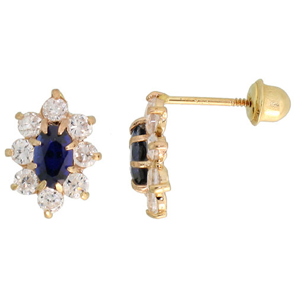 14k Yellow Gold 3/8 (10mm) tall Flower Stud Earrings, w/ Oval Cut Blue Sapphire-colored & Brilliant Cut Clear CZ Stones""