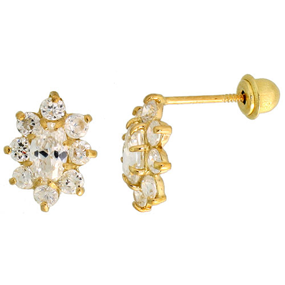 14k Yellow Gold 3/8 (10mm) tall Flower Stud Earrings, w/ Oval & Brilliant Cut CZ Stones""