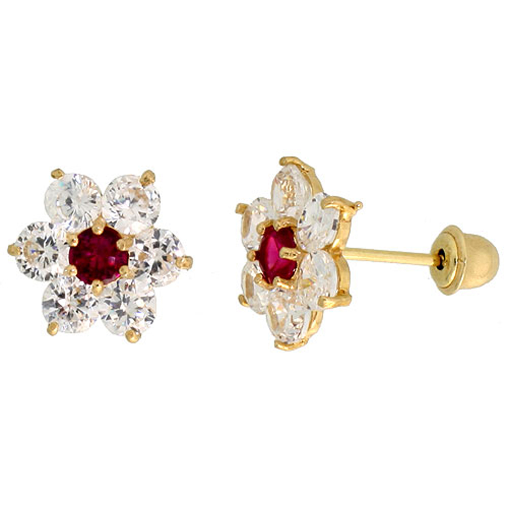 14k Yellow Gold 5/16 (9mm) tall Flower Stud Earrings, w/ Brilliant Cut Clear & Ruby-colored CZ Stones""