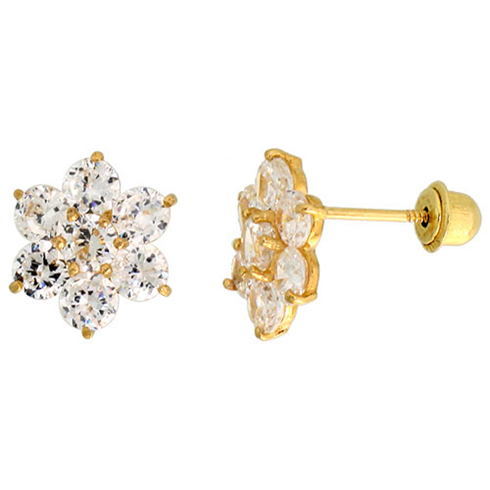 14k Yellow Gold 5/16 (9mm) tall Flower Stud Earrings, w/ Brilliant Cut CZ Stones""