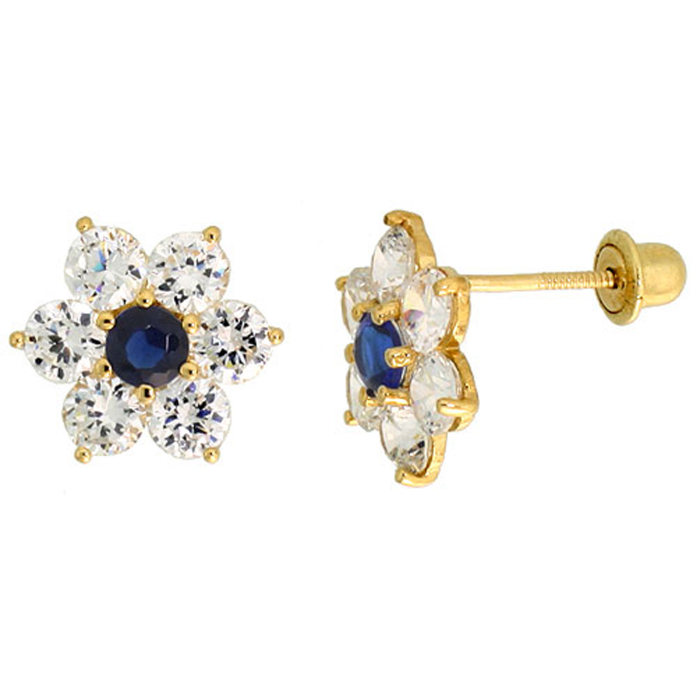 14k Yellow Gold 5/16 (9mm) tall Flower Stud Earrings, w/ Brilliant Cut Clear & Blue Sapphire-colored CZ Stones""
