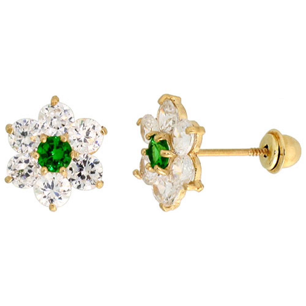14k Yellow Gold 5/16 (9mm) tall Flower Stud Earrings, w/ Brilliant Cut Clear & Emerald-colored CZ Stones""