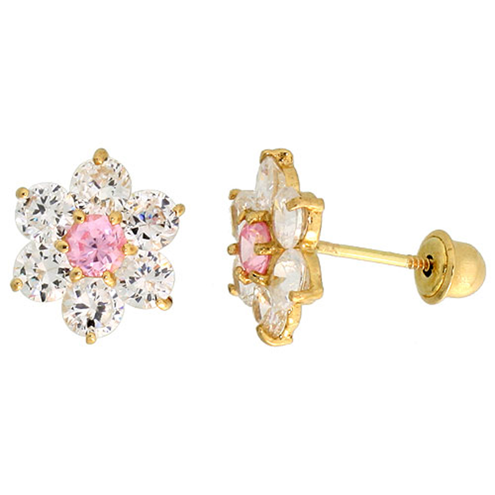 14k Yellow Gold 5/16 (9mm) tall Flower Stud Earrings, w/ Brilliant Cut Clear & Pink Tourmaline-colored CZ Stones""
