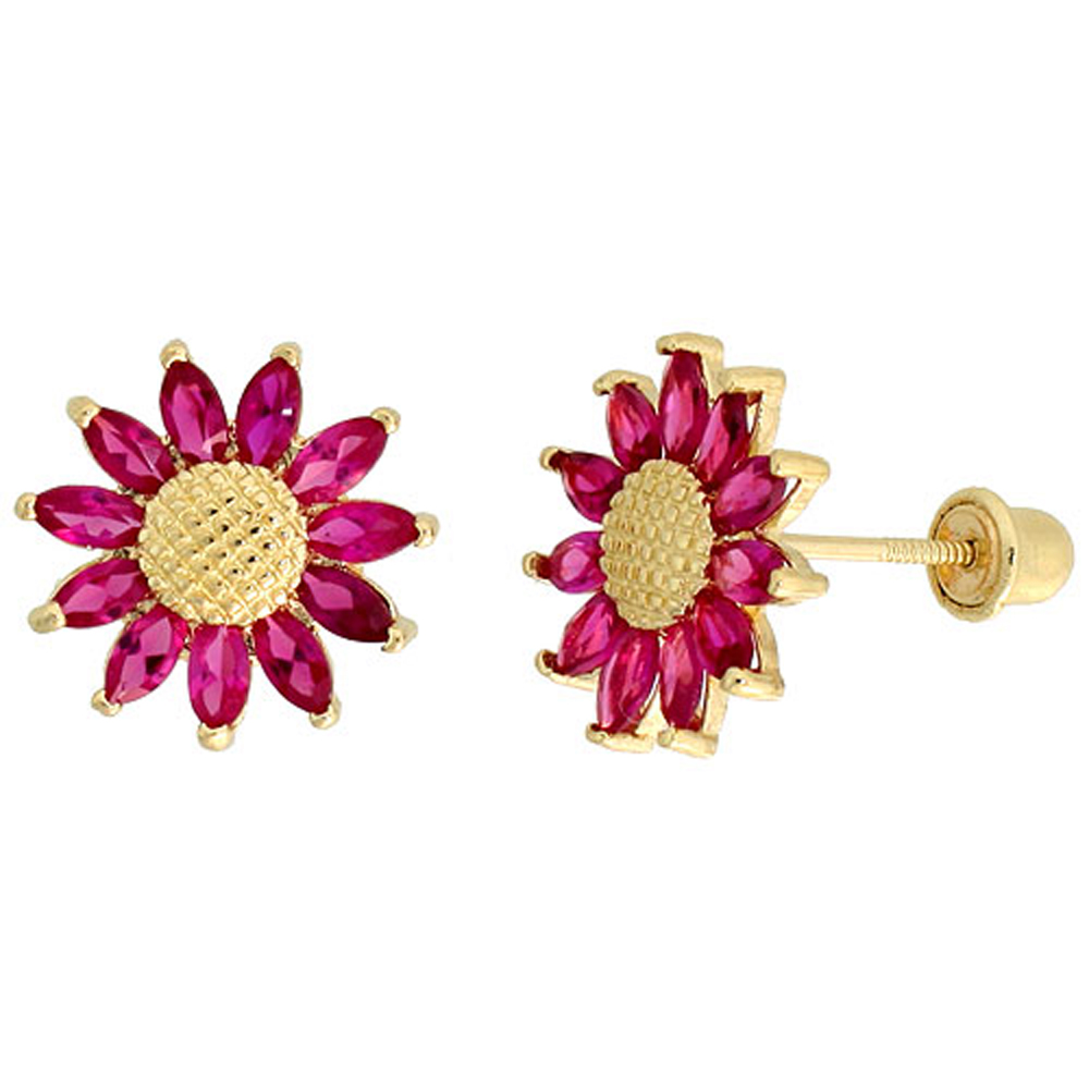 14k Yellow Gold 3/8 (10mm) tall Sunflower Stud Earrings, w/ Marquise Cut Ruby-colored CZ Stones""