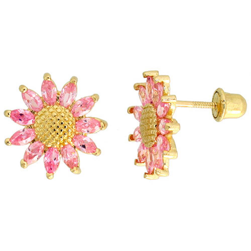 14k Yellow Gold 3/8 (10mm) tall Sunflower Stud Earrings, w/ Marquise Cut Pink Tourmaline-colored CZ Stones""