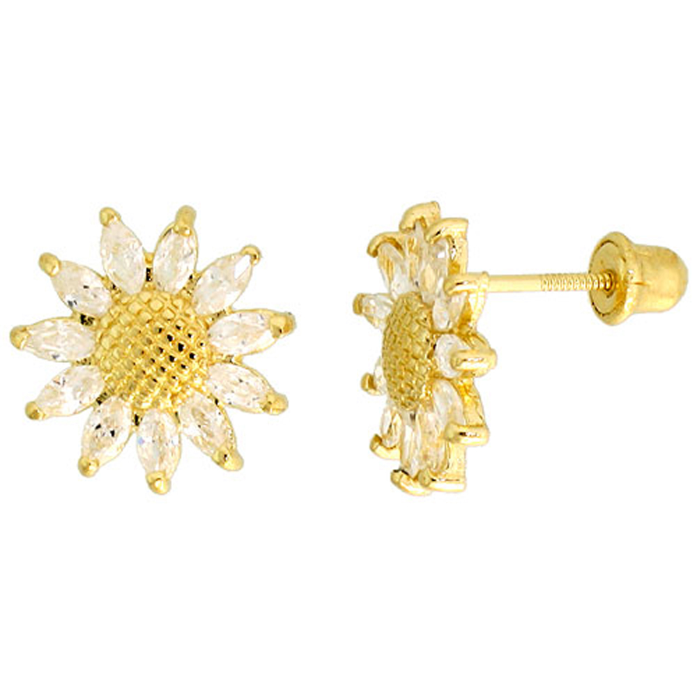 14k Gold Sunflower Stud Earrings White Cubic Zirconia Stones, 3/8 inch (10mm)