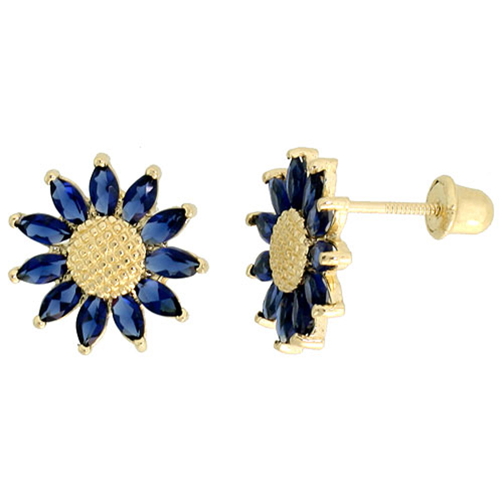 14k Yellow Gold 3/8 (10mm) tall Sunflower Stud Earrings, w/ Marquise Cut Blue Sapphire-colored CZ Stones""